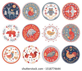12 circular ornaments with animals, birds and plants. Scandinavian folk style. Stickers, emblems, design for t-shirts, labels, symbols.