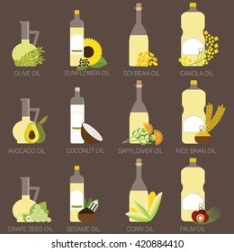 12 cooking oils in bottle. Healthy oil from canola, coconut, sesame, soybean, sunflower, safflower, palm, olive, grape seed, rice bran and avocado.