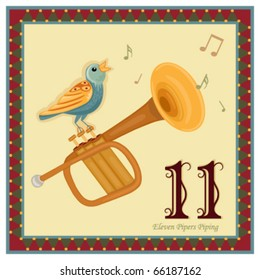 The 12 Days of Christmas - 11-th Day - Eleven Pipers Piping.  Vector illustration saved as EPS AI 8, no gradients no effects, easy print.