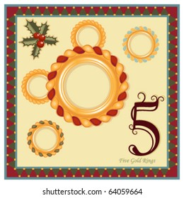 The 12 Days of Christmas - 5th Day - Five Gold Rings   Vector illustration saved as EPS AI 8.