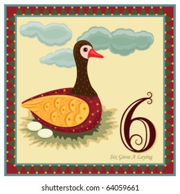 The 12 Days of Christmas - 6th Day - Six Geese A Laying   Vector illustration saved as EPS AI 8, no gradients, no effects, easy print.