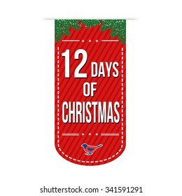 12 Days of Christmas banner design over a white background, vector illustration