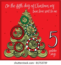 the 12 days of christmas - fifth day - five golden rings