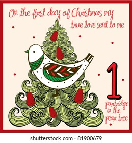 the 12 days of christmas first day a partridge in a pear tree - 12 Days Of Christmas Decorations