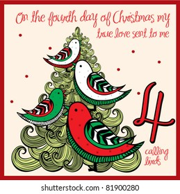 the 12 days of christmas - fourth day - four calling birds