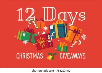 '12 Days of Christmas Giveaways' vector banner or header image template with red background, different gift and present boxes, candy canes and snowflakes
