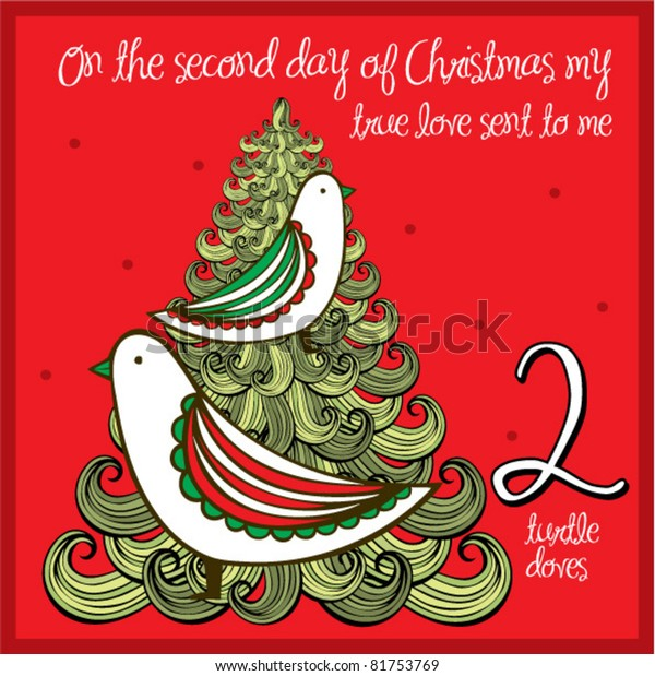 Second Day Of Christmas.12 Days Christmas Second Day Two Stock Vector Royalty Free