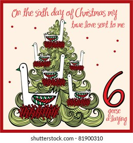the 12 days of christmas - sixth day - six geese a laying