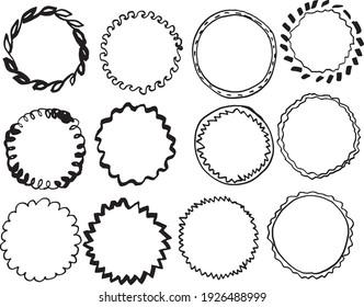 12 Doodle Frames Isolated Vector Illustration. Doodle Frames.