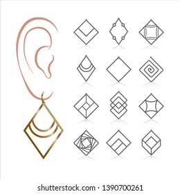 12 Earring Vector Templates. Cutout silhouettes like hoops & geometric shapes. Design is suitable for creating unique & quirky woman jewellery.