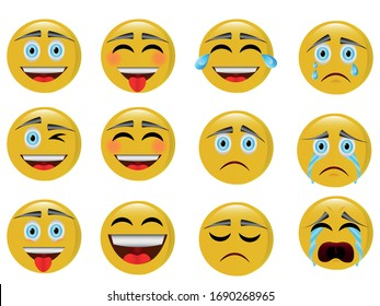 12 emojis. Enhanced and advanced emoticons with happy and sad faces.