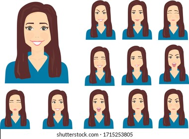 12 emotions of a woman with dark hair and brown eyes