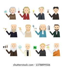 12 famous scientist icon vector set