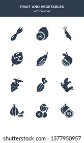 12 fruit and vegetables vector icons such as fig, fruit, garlic, ginger, gooseberry contains grape, grapefruit, guava, hazelnut, horseradish, kiwi icons