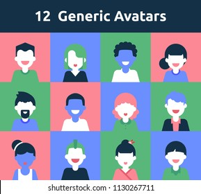 12 Generic Simple Avatars for any needs, social network, account systems, pattern
