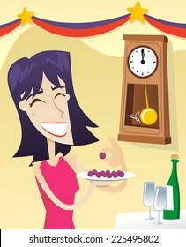 12 grape new year tradition vector cartoon illustration