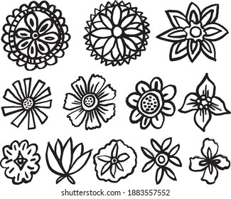 12 Hand Drawn Decorative Leaf Design Elements Isolated Vector Illustration. Doodle Leaf.