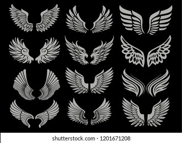 12 High quality wings silhouettes. Can be used for tattoos, printing and illustrations.