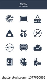 12 hotel vector icons such as luggage, meat, minibar, napkins, nightstand contains no pets, no smoking, olives, onigiri, open, pillow icons