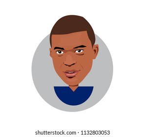 12 July 2018, France,Kylian Mbappe icon portrait vector illustration