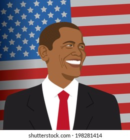 12 June 201: A vector illustration of a portrait of President Obama on the background of the American flag