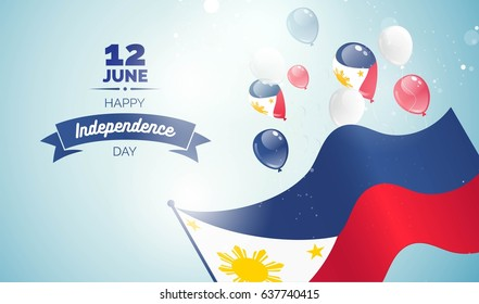 12 June. Philippines Independence Day greeting card. Celebration background with flying balloons and waving flag. Vector illustration