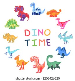 12 kinds of dinosaurus on every day hour. Funny and bright vector illustration. Marker texture for your design.