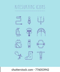 12 Kitesurfing icons set.Color,flat design,line art, thin line,logo,elements,symbols, accessory,equipment,hand drawn.Water sports school,website,banner logo, isolated objects.Kitesurfing, kiteboarding