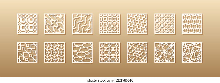 12 laser patterns for room walls in the Arabic style. Traditional oriental ornament in a rectangle for the design of a screen, privacy panels, a fence. Laser cutting of paper, vinyl, plywood, wood.