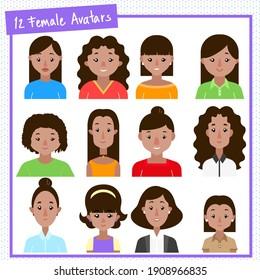 12 latina female avatars and a pattern