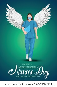 12 May. happy International Nurse Day background. full size of nurse`s uniform with wings. Vector illustration design