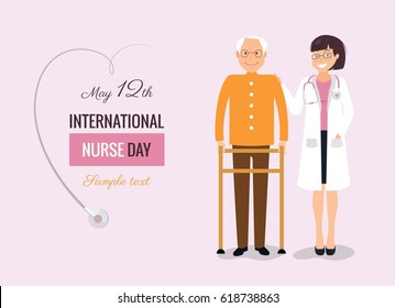 12 May. International Nurse Day background. Young female nurse helping caring for elderly man.  Vector flat  illustration