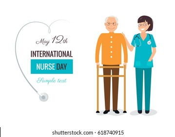 12 May. International Nurse Day background. Young female nurse helping caring for elderly man.  Vector flat  illustration