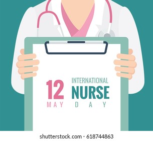 12 May. International Nurse Day background. Close-up of a female doctor with lab coat in her office holding a clipboard. Vector flat illustration