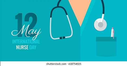 12 May. International Nurse Day background. Close-up of nurse`s uniform and stethoscope. Vector flat illustration
