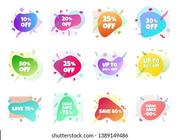 12 Modern liquid abstract special offer price sign discount clearance 10, 25, 50, 75, 80% off set text gradient flat style design fluid vector colorful vector illustration banners or flyer leaflet icon
