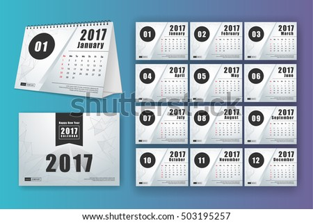 12 month desk calendar template print stock vector royalty free