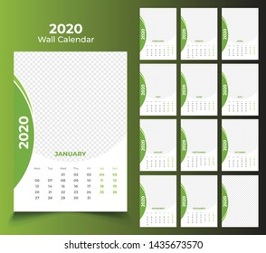 12 month wall calendar 2020 template design
