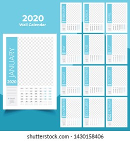 12 month wall calendar design 2020 template