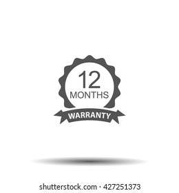 12 months and lifetime warranty label or seal flat icon