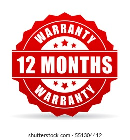 12 months warranty vector icon on white background