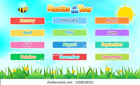 12 Months Of The Year, Cute illustration of Months Of The Year