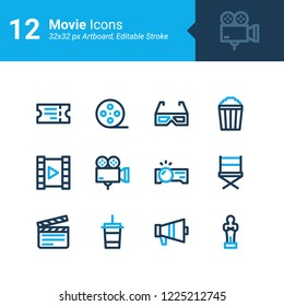 12 Movie icons in 32x32 px artboard, editable stroke