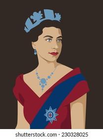 12 November 2014: vector illustration, portrait of young Elizabeth II British Queen