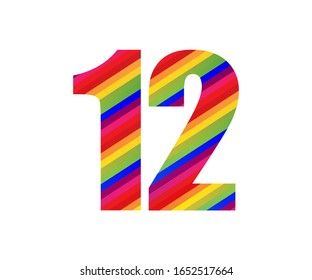 12 Number Rainbow Style Numeral Digit. Colorful Twelve Number Vector Illustration Design Isolated on White Background.