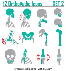 12 Orthopedic and spine symbol Set 2 - vector illustration eps 10 mono symbols
