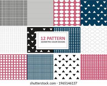 12 Pattern Geometric Design vector