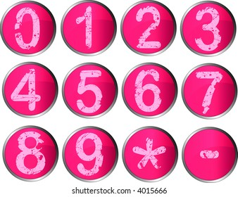 12 Pink Number Buttons with silver metallic edging