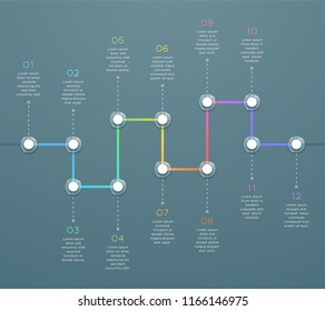 12 Point Colorful Horizontal 3d Time Line Infographic