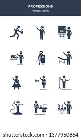 12 professions vector icons such as scientist, secretary, showman, singer, stewardess contains superhero, surgeon, swat, taxi driver, teacher, telemarketer icons